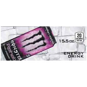 Monster Energy Rehab Pink Lemonade can on ice small size flavor strip