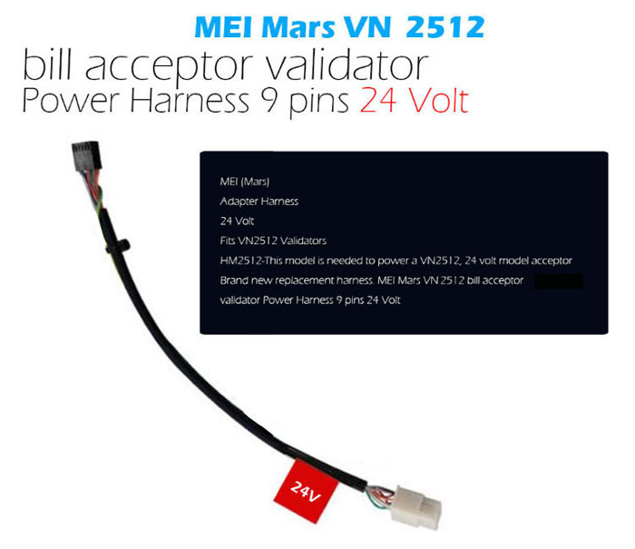 Adapter harness for Mars VN2512 bill validators
