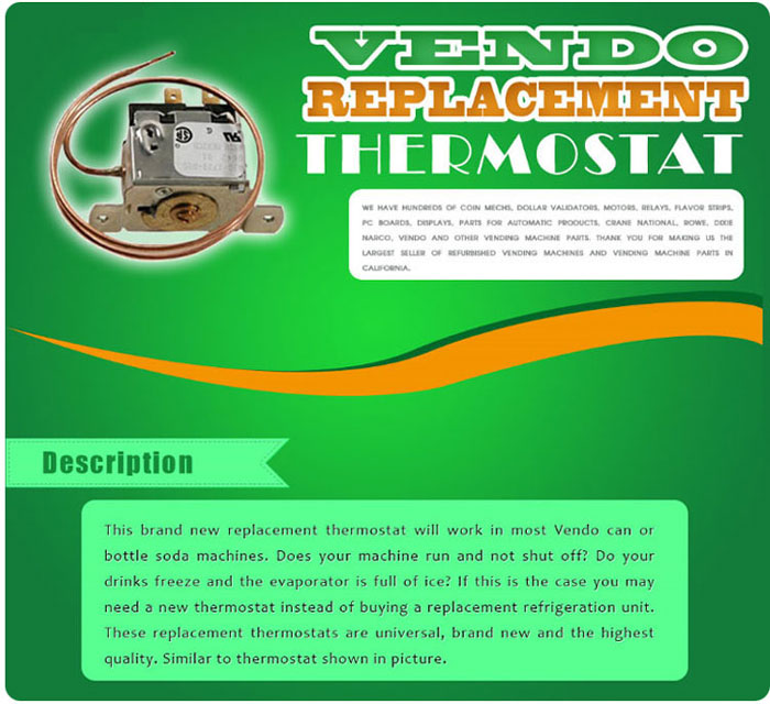 Vendo soda machine thermostat
